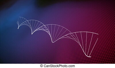 Animation of spinning 3D DNA strand formed with white particles over rows of glowing dots in the background. Global medicine research science concept digitally generated image.