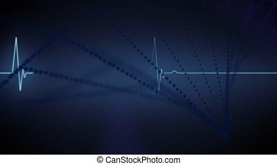 Animation of heart beat rate monitor and spinning 3D DNA strand formed with white particles on blue background. Global medicine research science concept digitally generated image.