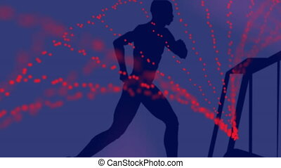 Animation of person running on treadmill and spinning 3D DNA strand formed with red particles on purple background. Global medicine research science concept digitally generated image.