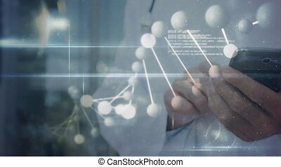 Dna structure spinning, white particles and data processing against mid section of doctor using smartphone. medicine research science and global networking concept