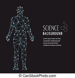 dna, symbool, molecule, genetisch, dna, structuur, man