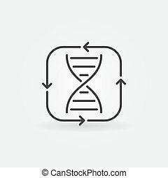 DNA with Arrows vector concept outline icon