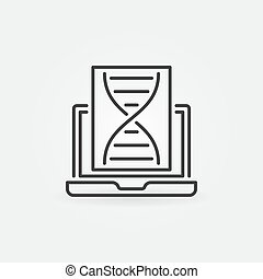 DNA with Laptop vector concept outline icon