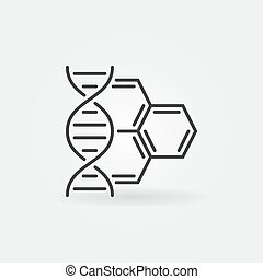 DNA with molecule vector concept outline icon