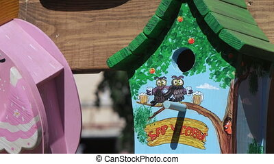 Multicolored wooden birdhouses - Dnepropetrovsk SEPTEMBER...