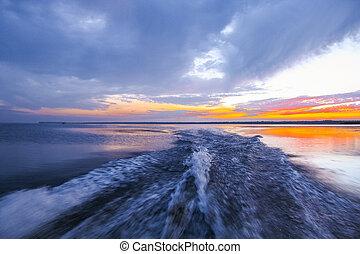 dnieper, rio, pôr do sol