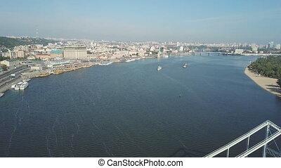 Dnieper River in Kiev. Aerial survey