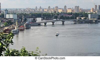 Kiev - Dnieper River time lapse.  Kiev, Ukraine.