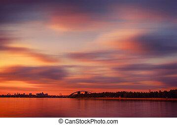 dnipro, över, solnedgång