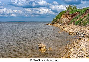 dnipro, réservoir, vallonné, localisé, kakhovka, sauvage, rivière, plage