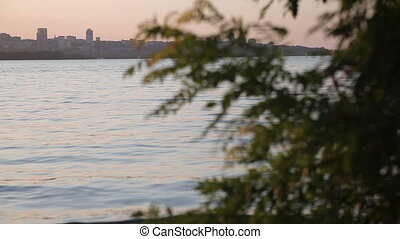 Dnipro River at Sunset. Romantic Evening