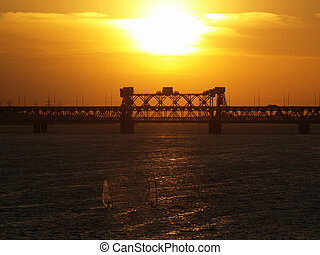 Dnipropetrovsk sunset over bridge