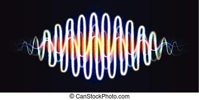 dns, figur, linien, abstrakt, neon, welle, musik, glänzend