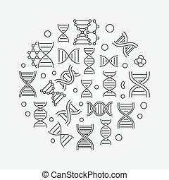dns, illustration., symbol, desoxyribonukleinsäure, runder