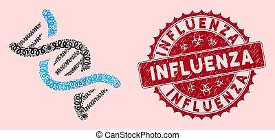 dns, mikrobe, collage, ikone, grippe, siegel, spirale, not