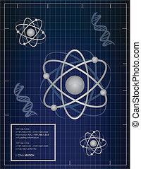 dns, passend, hintergrund, atome
