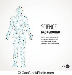 dns, symbol, molekül, genetisch, dns, struktur, mann