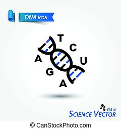 dns, wissenschaftlich, ), (, deoxyribonucleic, vektor, säure, ikone