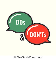 Do and Don't or Good and Bad Icons w Positive and Negative ...