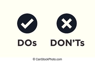 Do and Don't or Good and Bad Icons with Positive and ...
