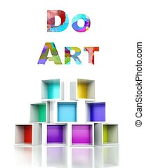 Do art with colorful 3d design illustration