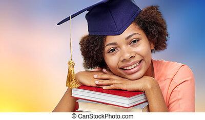 do góry, absolwent, książki, student, afrykanin, zamknięcie