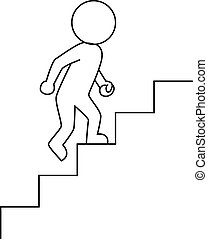 do góry, biznesmen, krocząc