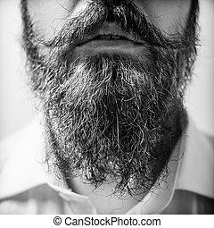do góry, długi, zamknięcie, człowiek, wąsy, broda