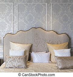 do góry, elegancja, luksus, sypialnia, pillow., zamknięcie