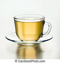 do góry., filiżanka, szkło, tea., zamknięcie, zielony