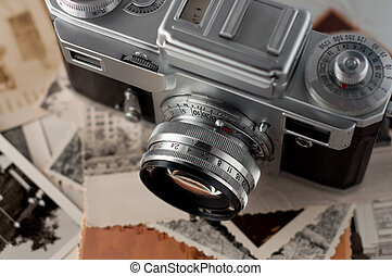 do góry., fotografie, aparat fotograficzny, stary, zamknięcie
