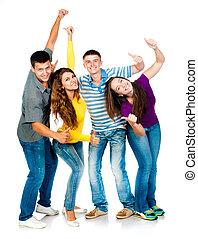 do góry, grupa, młody, kciuki, ludzie