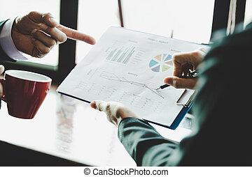 do góry., handlowy, concept., dochód, graphs., wykresy, analiza, strategia, analizując, drużyna, zamknięcie