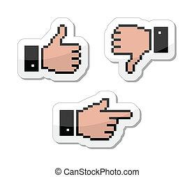 do góry, kciuk, ikony, -, kursor, pixel, podobny