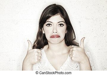 do góry, kobieta, kciuki, sarkastyczny, smutny