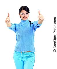 do góry, kobieta uśmiechnięta, kciuki