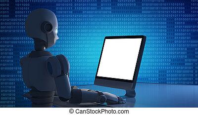 do góry., kpić, pojęcie, inteligencja, robot, sztuczny, ekran, komputerowa ilustracja, czysty, używając, technologia, futurystyczny, 3d