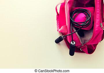do góry, ma na sobie torbę, materiał, samica, zamknięcie