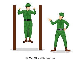 do góry., naciąg, żołnierz, tło., dostając, armia, ...