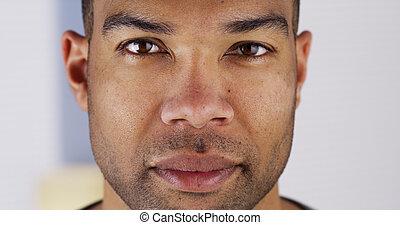 do góry, patrząc, aparat fotograficzny, czarnoskóry, zamknięcie, człowiek