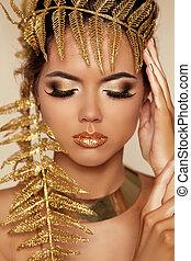 do góry., piękny, oko, eyeshadow., złoty, ustalać, makeup., makeover., charakteryzacja, profesjonalny, closeup.