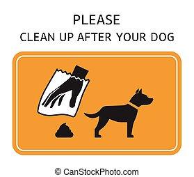 do góry, po, pies, znak, czysty, twój