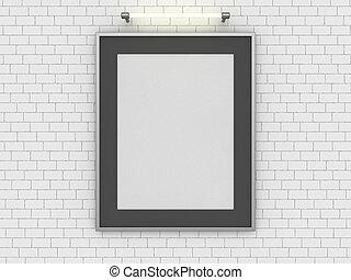 do góry, pokój, afisz, wall., czysty, kpić, 3d