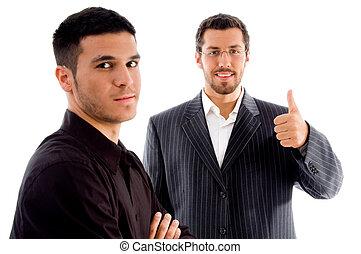 do góry, pomyślny, businesspeople, ręka, kciuki, gest