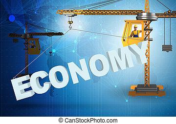 do góry, słowo, podnoszenie, żuraw, ekonomia