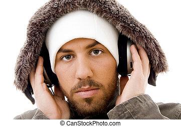 do góry, słuchawka, muzykować słuchanie, poważny, zamknięcie, samiec