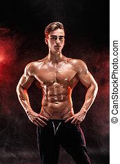 do góry., siła robocza, człowiek, plecy, mięsień trójgłowy, biceps, skrzynia, silny, bodybuilder, przedstawianie, doskonały, wartość bezwzględna, dym
