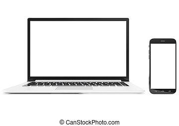 do góry., szczegółowy, smartphone, laptop, nowoczesny, do góry, desktop, przedstawienie, komputer, połyskujący, czysty, perfectly, czysty, kpić, 3d