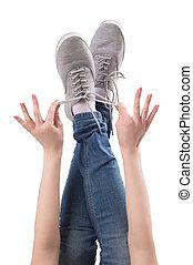 do góry., szczelnie-do góry, obuwie, odizolowany, feet, samica, biały, nogi