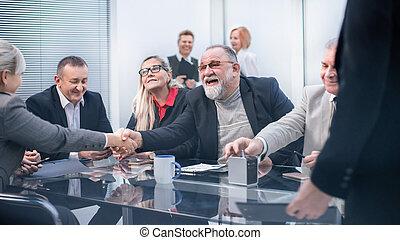 do góry., wzmacniacz, handlowy, inny, każdy, powitać, zamknięcie, handshake.